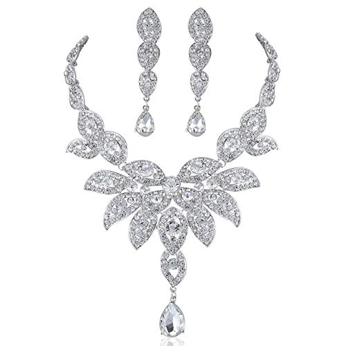 Large Floral Clear White Austrian Rhinestone Crystal Bib Statement Necklace Earrings Set Party Bridal Prom Pageant Wedding N1581 Silver