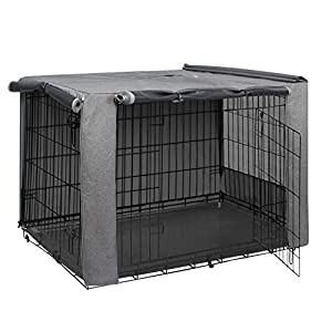 HiCaptain Folding Metal Dog Crate Cover for 42 Inch Wire Pet Cage(Two-Tone Gray)