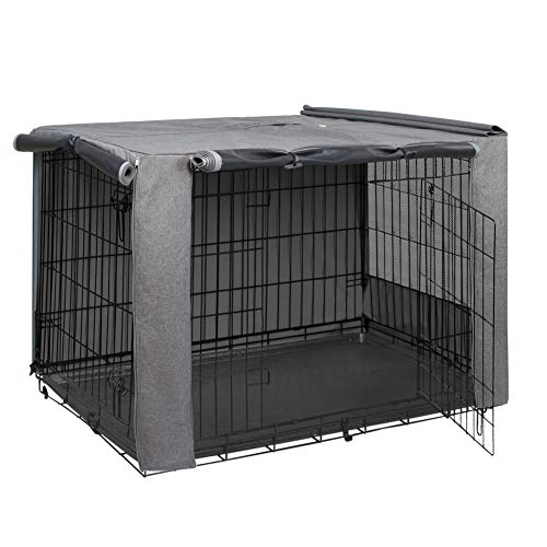 HiCaptain Folding Metal Dog Crate Cover for 42 Inch Wire Pet CageTwoTone Gray