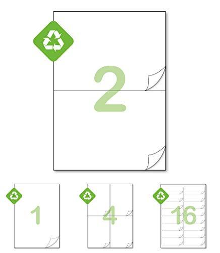 Gluetack - Etiketten aus 100 % recyceltem Papier A4 (210 x 148,5 mm) –Umweltfreundliche Klebeetiketten zum Bedrucken mit permanentem- 50 Selbstklebende Blätter- 2 Etikett pro Blatt- 100 Etiketten