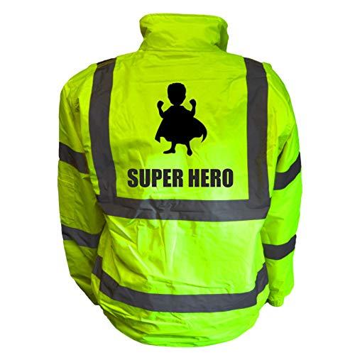 Superhero Kids Hi Vis Yellow Bomber Jacket, Reflective High Visibility Safety Childs Coat, By Brook Hi Vis, Large 10-12 Years