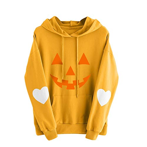 zhanxin Plus Size Women Hoodie Pumpkin Printing Slim Fit Hoodie Drawstring Pockets Casual Pullover Sweatshirt Streetshirt Yellow