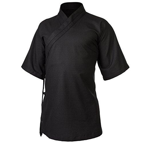 wu designs Leinen (Mittel) Kung Fu & Tai Chi Shirt Diagonaler Kragen Kurzarm - Taiji Anzug Schwarz 180