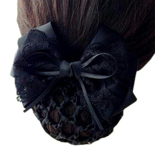 Maillot élastique à la mode pour dames Maillot de cheveux Hair Snood Bowtie Mesh, 1 Noir pur