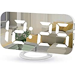 Digital Alarm Clock,7 LED Mirror Electronic Clocks,with 2 USB Charging Ports,Snooze Mode,Auto Adjust Brightness,Modern Desk Wall Clocks for Bedrooms Living Room Office - White