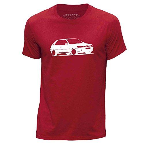 Stuff4 Hombres/Grande (L)/Rojo/Cuello Redondo de la Camiseta/Plantilla Coche Arte / 306 GTI-6
