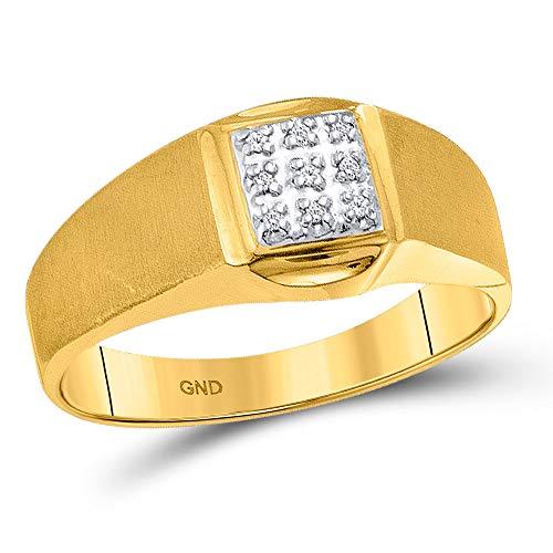 Diamond2Deal Hombre Unisex 417 Gold Oro amarillo de 10 quilates round-shape G-H Diamante blanco