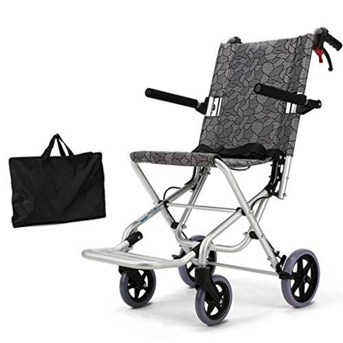 Chunse Silla de Ruedas de Aluminio Ligero Transporte Plegable autopropulsado autopropulsado Silla de Viaje aleación de Ancianos discapacitados diseño Compacto diseño