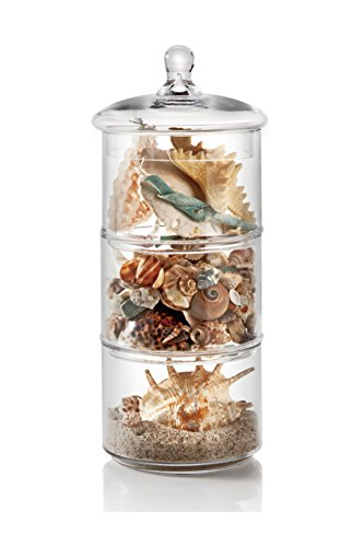 3-Tier Stacking Glass Apothecary Jar/Round Glass Storage Canisters for Kitchen and Bathroom D7XH16.5'