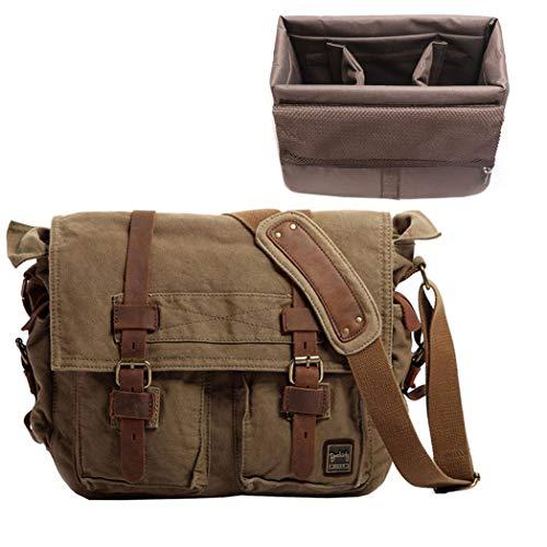 Berchirly Men Women 14.7 Inches Designer Messenger Bag +Camera Kit, Military Canvas DSLR Gadget Bag