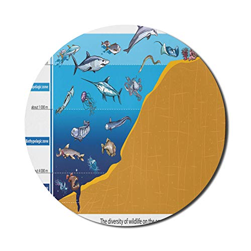 Unter dem Meer Mauspad für Computer, Region mit Hai Octopus Quallen Tintenfisch Raubtiere Grafik Natur Kunst, Runde rutschfeste dicke Gummi Modern Gaming Mousepad, 8 'Runde, Blauer Senf