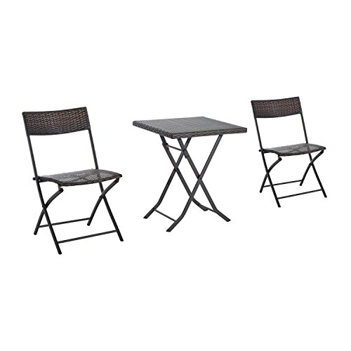 Outsunny Rattan Garden Furniture Bistro Set Outdoor Patio Coffee Set 2 Wicker Weave Folding Chairs and 1 Square Table (Brown)