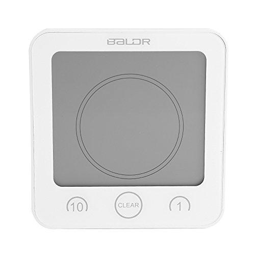 Bicaquu Mootea Badezimmer-Digitaluhr, wasserdichte Badezimmer-Timer-Wanduhr Digital-LCD-Thermometer-Hygrometer-Saugnapf(Weiß)