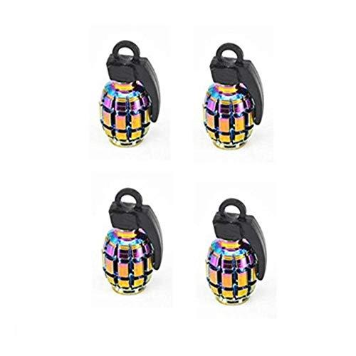 KingBra 4 tapones de válvula de neumático de aluminio granada 8 V1 para bicicleta, camión, motocicleta, coche