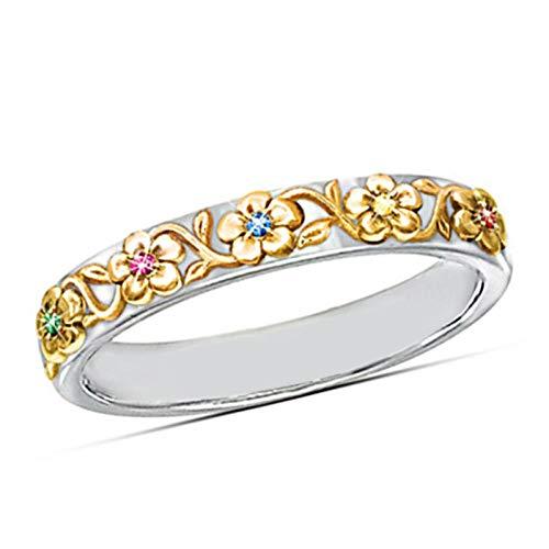 Ringe Für Pflanze Frauen Ring Band Mit Bunten Stein Einstellung Blume Elegante Frauen 8