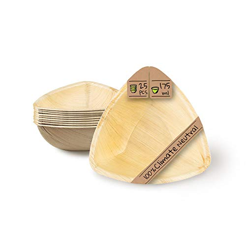 BIOZOYG Palmware - Cuenco Hoja de Palma para Snack I Tazón Orgánico Desechable Triangular 175 ml I Vajilla Party compostable I Cuenco Biodegradable para Dip I Platos desechable 25 Piezas