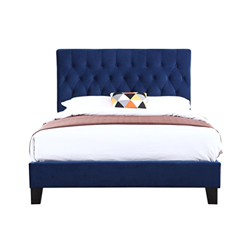 Upholstered Bed With Tufted Padded Headboard And PlatformStyle Base