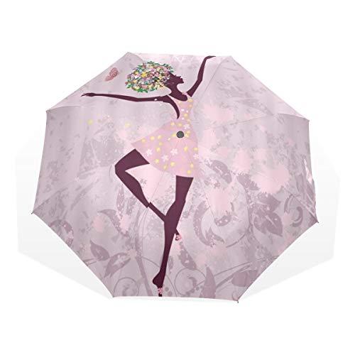LASINSU Regenschirm,Ballerina Ballett Tänzer Baum Tupfen künstlerischer gymnastischer Rock,Faltbar Kompakt Sonnenschirm UV Schutz Winddicht Regenschirm