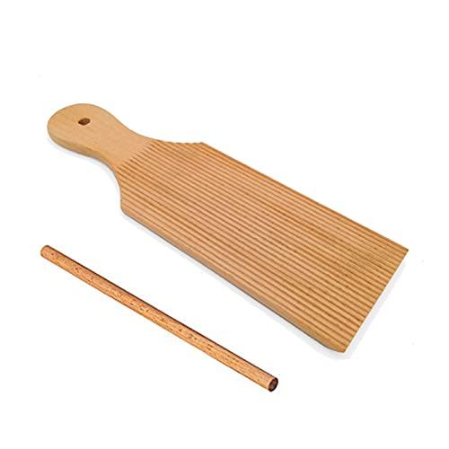Tablas de ñoquis y paletas de mantequilla de madera – Crea fácilmente pasta casera y mantequilla sin pegar, juego de 2 piezas, sin pintura y sin cera
