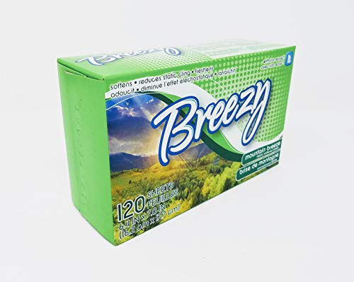 Breezy Mountain Scent Dryer Sheets, 120 Count