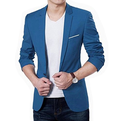 Men's Classic Notched Collar Two Buttoned Denim Suit Fashion Gradient Washed Blue Blazer Jacket