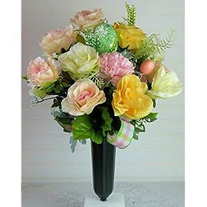 Cemetery Vase for Easter, Easter Cemetery Flowers with Roses, Easter Grave Vase