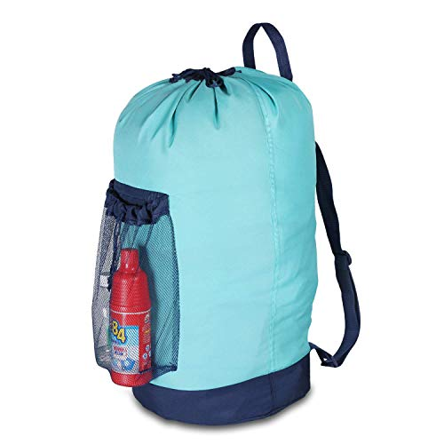 V-Shine Backpack Laundry Bag Large, Laundry Backpack Bags with Shoulder Straps and Mesh Pocket, Clothes Hamper Bag with Drawstring Closure for College Students, Travel, Laundromat Blue