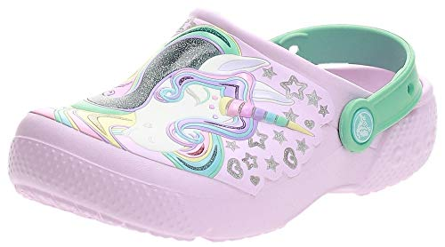 Crocs Baby Fun Lab Unicorn Clog, Ballerina Pink/New Mint, 6 M US Toddler