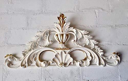 Wanddeko Barock Antik Weiß Gold Wandbehang Türbogen 77x36x3 Wandrelief