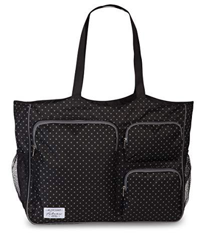 Fabrizio Strandtasche groß XXL viele Taschen Freizeittasche Urlaubstasche Sommer mit Reißverschluss (Schwarz)