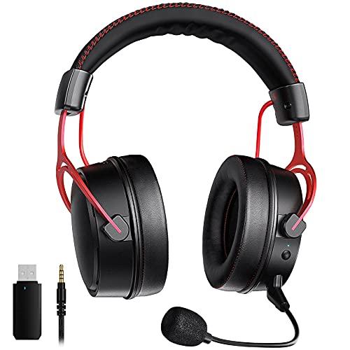 2.4G Cuffie Gaming per PS5 PS4 PC, Stereo 3D, Microfono con cancellazione del rumore, Dongle USB(cablato opzionale), Cuffie da gioco con struttura in metallo per Xbox Switch Mac Laptop