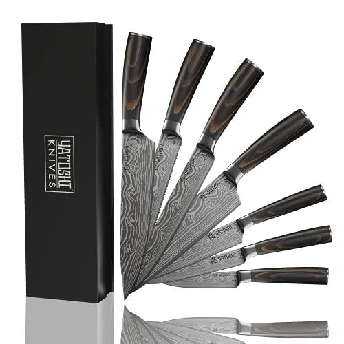 Yatoshi 7 Knife Set - Pro Kitchen Knife Set Ultra Sharp High...