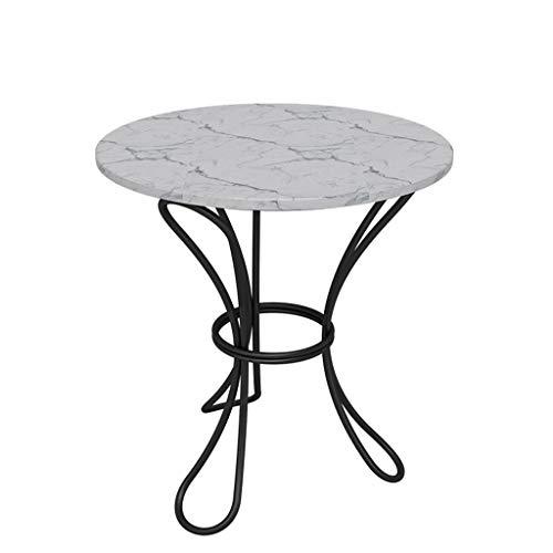 LICHUAN Mesa de centro redonda de mármol, mesita de noche decorativa para interiores y exteriores, mesa de comedor, ideal para terraza, jardín o interior, mesa auxiliar de salón