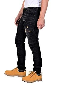 Robin s Jean Red Label Mens Slim Fit Moto Sulfur Black Stretch Denim 32W