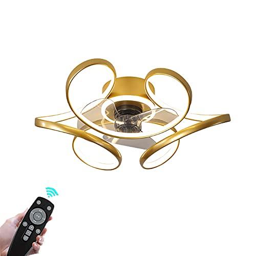 Ventiladores de Techo Modernos LED Regulable Lámpara de Techo con Control Remoto Plafon de Techo Ultra Silencioso, 3 velocidades, para Dormitorio salón Cocina 3200K~6500K Dorado Ø45CM