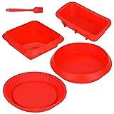 Queta Molde de silicona hornear 5 piezas Moldes de panadería flexible y antiadherente con una...