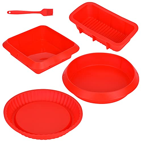 Queta Molde de silicona hornear 5 piezas Moldes de panadería flexible y antiadherente con una espátula de silicona para hornear Pan Tostadas Pastels (Rojo) (Tipo3)