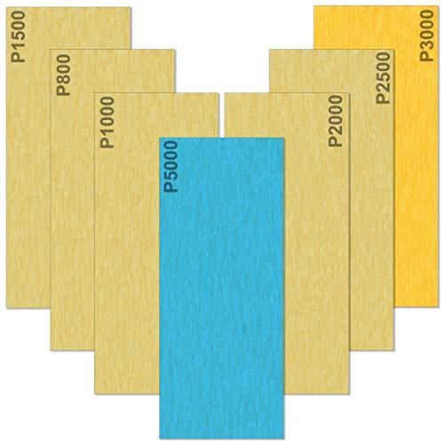 Akuoly Nassschleifpapier 35 Blatt Set 5000 3000 2500 2000 1500 1000 800 Körnung Schleifblätter Nass und Trocken für Auto Holzmöbel Stein Lack Metall Glas, 9,3x23cm pro Blatt