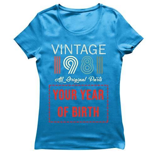 lepni.me Camiseta Mujer Personalizado con Cualquier Año Regalo Vintage Todas Las Piezas Originales (Small Azul Multicolor)