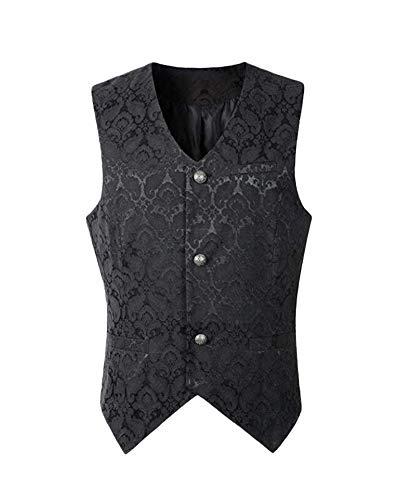 Herren Weste Steampunk Gothic Viktorianisch Vest Retro Kurz Oberteil Tops Anzugweste Kostüm Schwarz 3XL