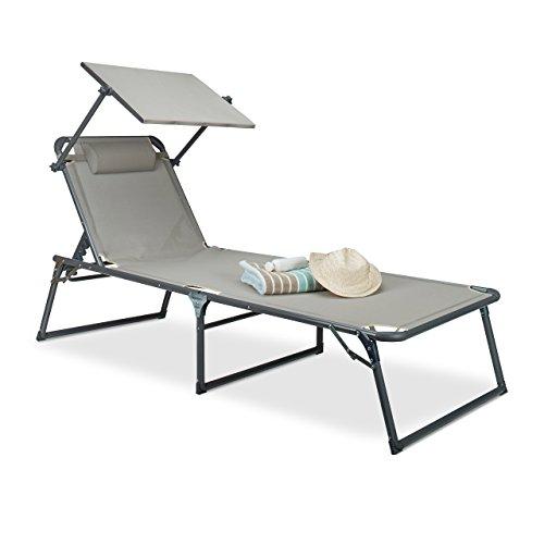 Tumbona con Parasol, de RelaxdaysTamaño: 37 x 70 x 200 cm. Silla de jardín con Parasol. Material: Aluminio y poliéster. Silla Plegable de Cubierta. Color: Beige.