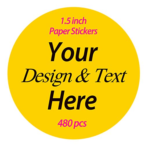 480 pcs Premium Custom Stickers Uncoated Paper 1.5 inch Round - Personalized Stickers for Businesses with Logo and Name. Birthday and Wedding Favors Baby Pets Product Boxes Labels