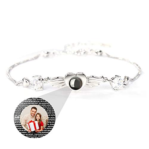 TheBigThumb Personalized Photo I Love You Projection Bracelet in 100 Languages Simple Sterling Silver Bangle Unisex Birthday Christmas Anniversary Ideals for Lovers(Silver2)