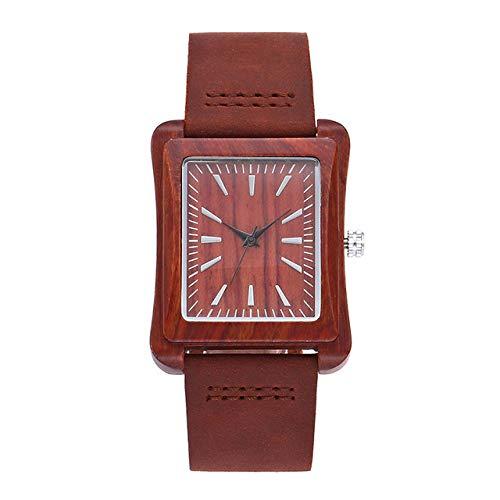 LOPIXUO Relojes de Madera rectangulares creativos, Moda Masculina, Reloj de Pulsera de Madera de Cuarzo Informal, para Hombre, para Mujer, marrón, Rojo, Reloj de Lujo para Hombre, Rojo