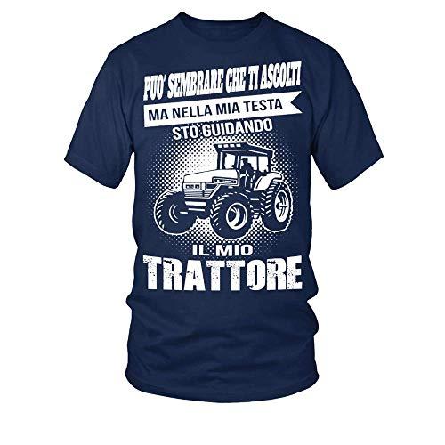 TEEZILY T-Shirt Scollo Tondo Uomo può sembrare Che Ti ascolti ma nella mia Testa STO guidando Il Mio Trattore