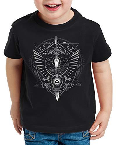style3 Hyrule Wappen T-Shirt für Kinder link Gamer, Farbe:Schwarz, Größe:140