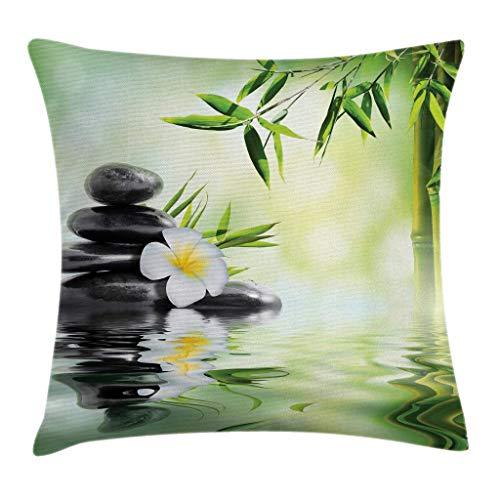 GOSMAO Funda de cojín para cojín de SPA, jardín con bambú Frangipani, relajación Japonesa, Viajes de Descanso, Funda de Almohada Decorativa Cuadrada Decorativa, Verde pálido de 18 x 18 Pulgadas