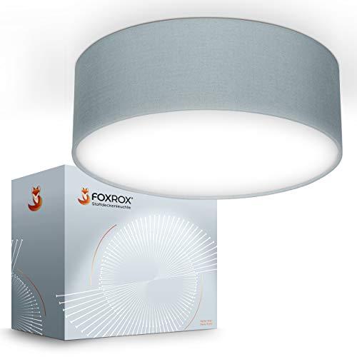 FOXROX® Premium Deckenlampe – E27 Lampe mit Stoffummantelung – Maximal [25W] Leuchtkraft – [220-240 V AC] – [50-60Hz] – [30x30x10 cm] Deckenleuchte – Inklusive Anleitung & Montagematerial