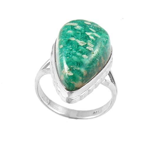 Anello in argento Sterling 925 | Anello in argento con gemma amazzonite | Bellissimo anello unisex | varie misure | Anello con pietra preziosa liscia a forma di pera