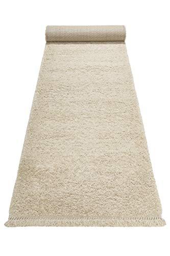 Wecon home, Moderner Hochflor Teppich - Läufer im Berber Style für Wohnzimmer, Flur, Schlafzimmer Studio Zero (80 x 150 cm, Creme beige)